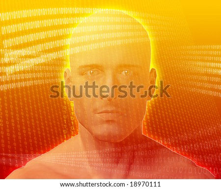 A man's face, surrounded by digital information