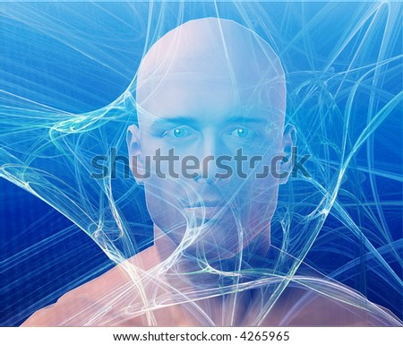 A man's face, surrounding by information Blue background - stock photo
