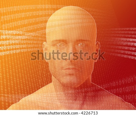 A man's face, surrounding by information Orange background - stock photo