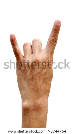 A man's hand giving the Rock and Roll sign - stock photo