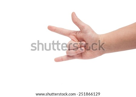 A man's hand giving the Rock and Roll sign isolated on white background - stock photo