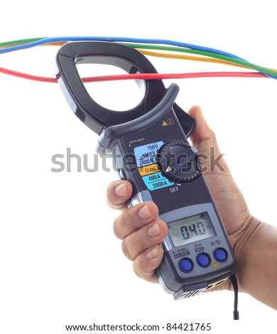 A man's hand hold AC and DC clamp meter, clamp to one of four electrical wire/cable to take current reading. Isolated white background. - stock photo