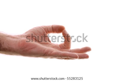A man's hand is shown in yoga gyan mudra hand position used for grounding. Representing starting place or home, back to your roots, a simpler time. Clears the mind. Shot over white. - stock photo
