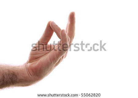 A man's hand is shown Prithivi mudra  position, recharges the root chakra aligning it with earth energies. Shot over white. - stock photo