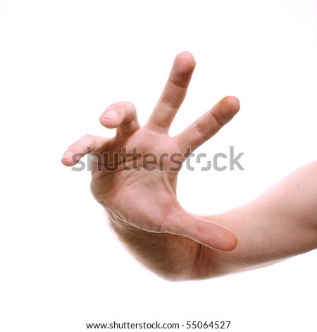 A man's hand is shown reaching towards viewer in wide angle shot to distort.. Shot over white. - stock photo