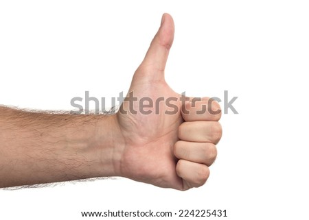 A Man's Hand Showing Thumbs Up On White Background