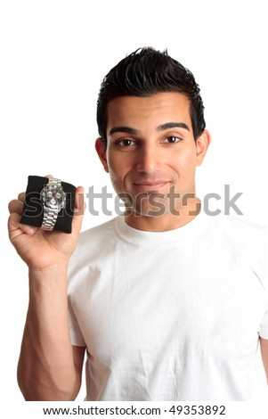 A man showing a men's fashion chronograph watch.   Logos removed and watch face modified - stock photo