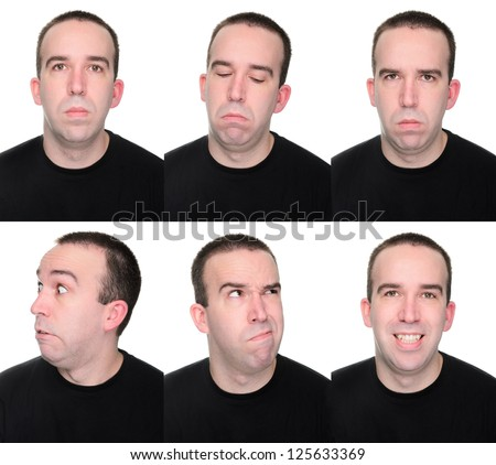 A man showing off multiple emotions or expressions. - stock photo