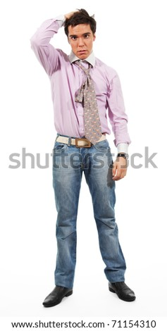 A man shows Misunderstanding, wearing jeans, shirt and tie, isolated on white