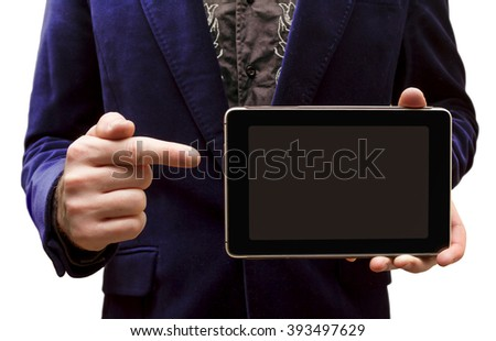 A man shows the Tablet-PC on a white background - stock photo