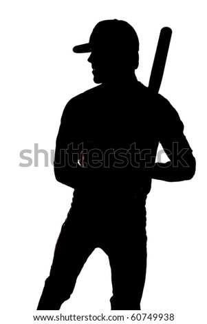 A man silhouetted on a white background holding his bat. - stock photo