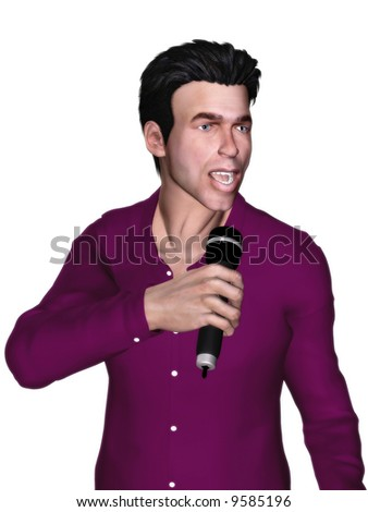 A man singing with a microphone in his hand. - stock photo
