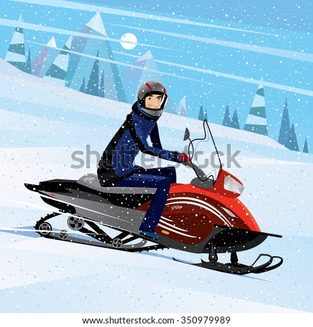 A man sitting on a snowmobile and looking at us - challenge concept. Raster version of illustration - stock photo