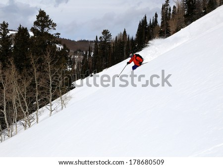 A man skiing through a forested slope, Utah, USA. - stock photo