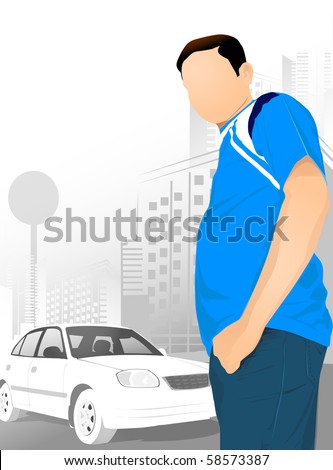 a man standing next to his white car - stock photo