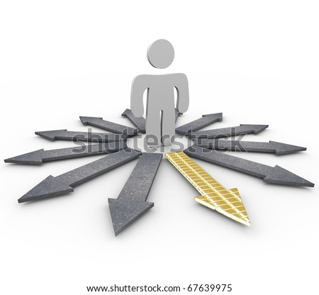 A man stands at a crossroads, and chooses the golden bricked path to prosperity - stock photo