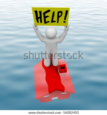 A man stands on a home underwater holding sign reading Help - stock photo