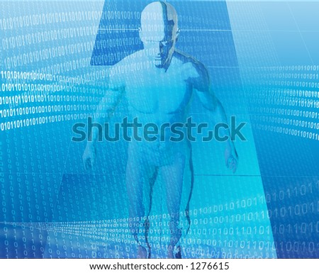 A man surrounded by information - stock photo