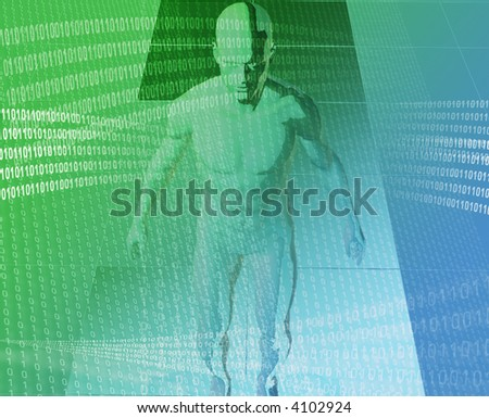 A man surrounded by information green blue background - stock photo