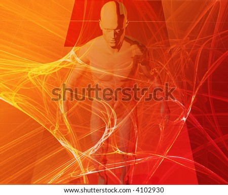 A man surrounded by information red orange background - stock photo