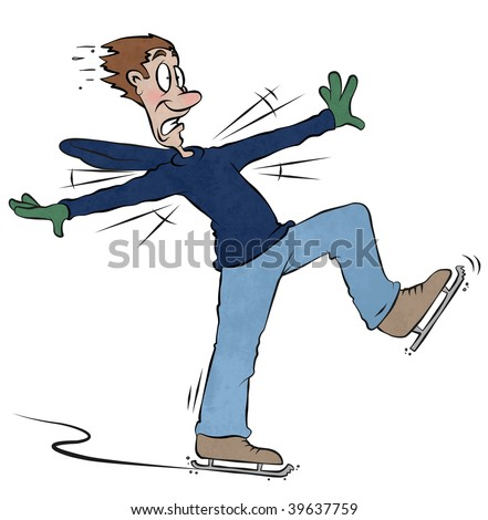 A man takes to the ice and finds it more difficult than he thought. - stock photo