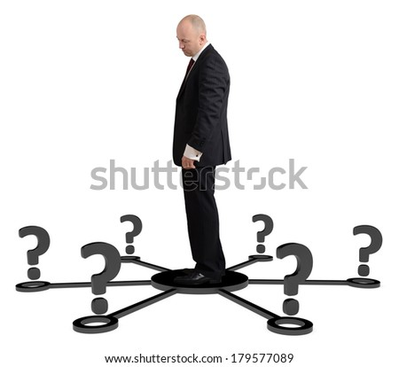 a man thinking for which way to go isolated on a white background - stock photo