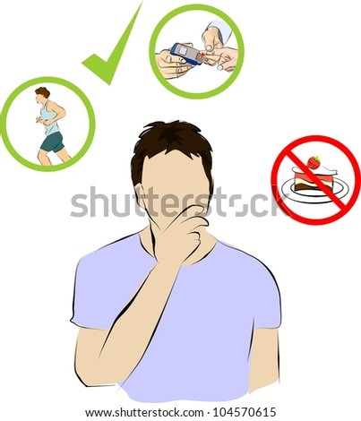 a man thinking how to control insulin from diabetic - stock photo