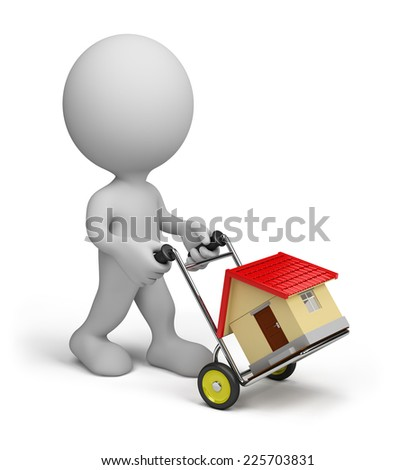 A man transports a house on a trolley. 3d image. White background. - stock photo