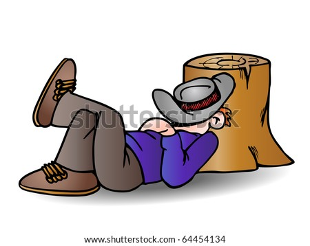a man wearing a cowboy hat take a nap lean on tree root on isolated white - stock photo