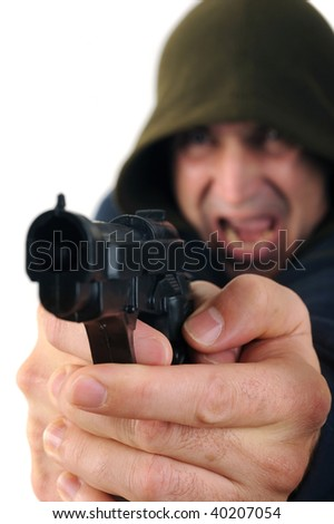 A man wearing a hood aiming a gun with white background