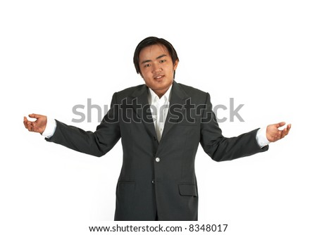 a man wearing a suit shrugging over a white background