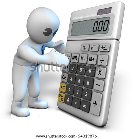 A man with a big calculator which shows zero - stock photo