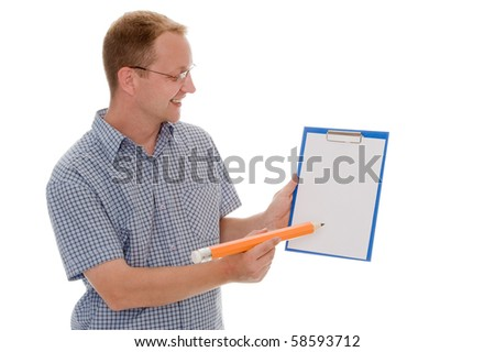 A man with a big pen - stock photo