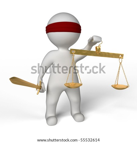 a man with a blindfold holding balance on white background - stock photo