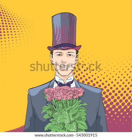 A man with a bouquet of roses