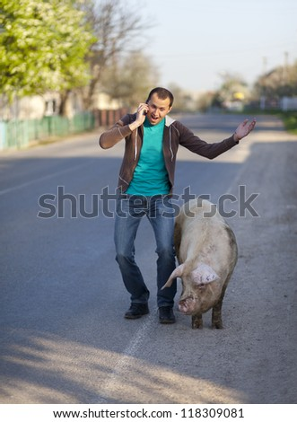 A man with a dirty pig is on the cellphone - stock photo