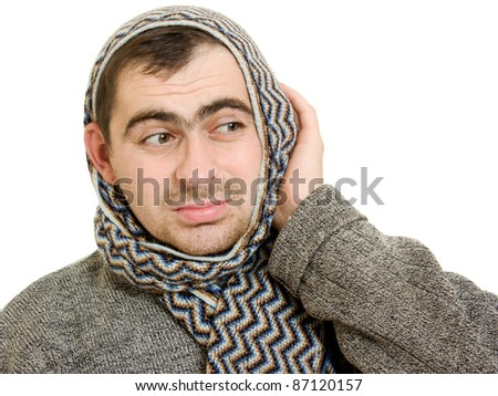 A man with a diseased ears. - stock photo