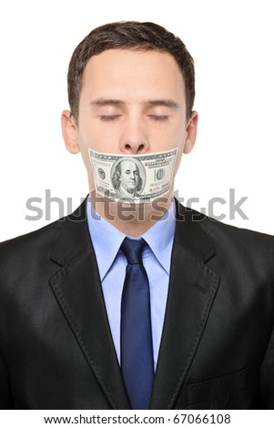 A man with a 100 dollar banknote on his mouth isolated against white background - stock photo