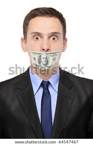 A man with a 100 dollar banknote on his mouth isolated on white background - stock photo