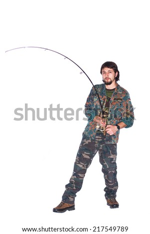A man with a fishing rod in a photo studio. White background.