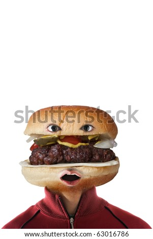 A man with a hamburger as a  head.  They say you are what you eat! - stock photo