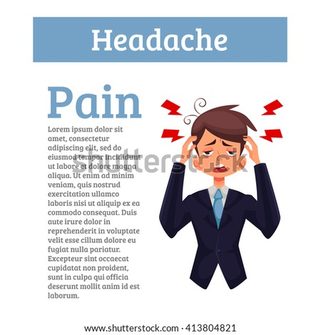 A man with a headache, compassion fatigue, a person with a disease of the head, an office worker holding his head with his hands and feels anguish. Demonstration of health problems and head - stock photo