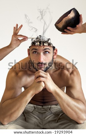 A man with a heatstroke with his bionic brain being fixed isolated on white background - stock photo