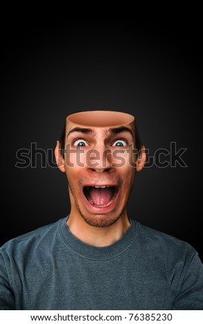 A man with a mindless brainless empty open head screaming - stock photo