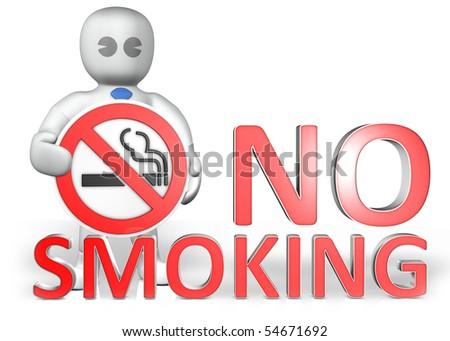 a man with a no smoking warning - stock photo