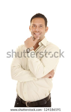 a man with a smile on his face wearing a watch. - stock photo