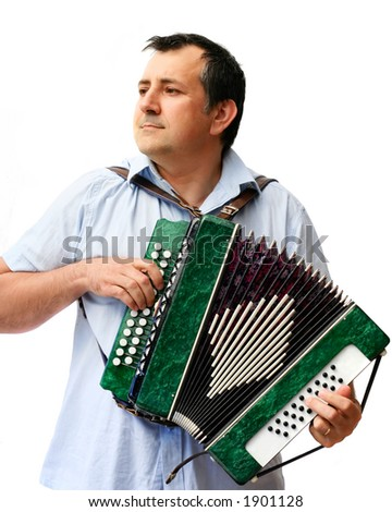 A man with accordion - stock photo