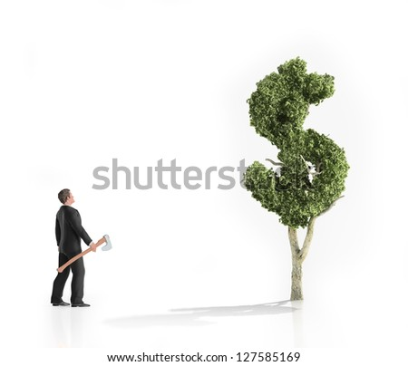 A man with an axe looking at a dollar shaped tree - making money concept. - stock photo