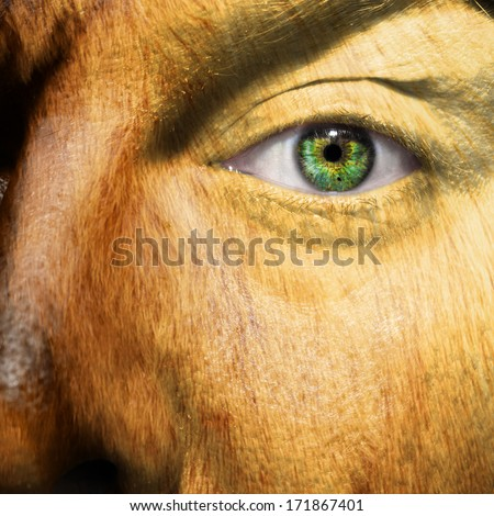 A man with animal like features and a furry skin - stock photo