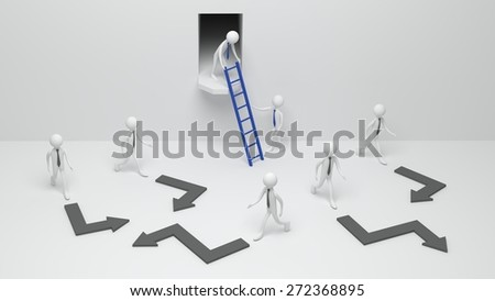 A man with blue tie giving a ladder the other one standing in a room with people with grey ties. - stock photo